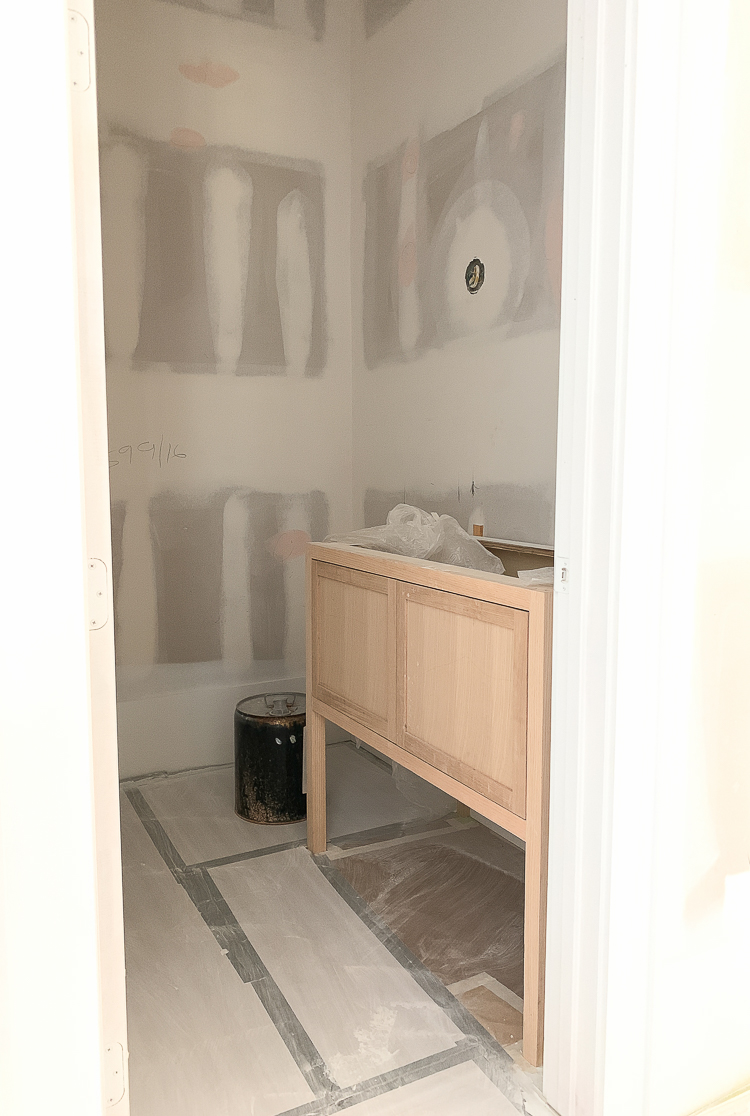 powder room in custom home under construction