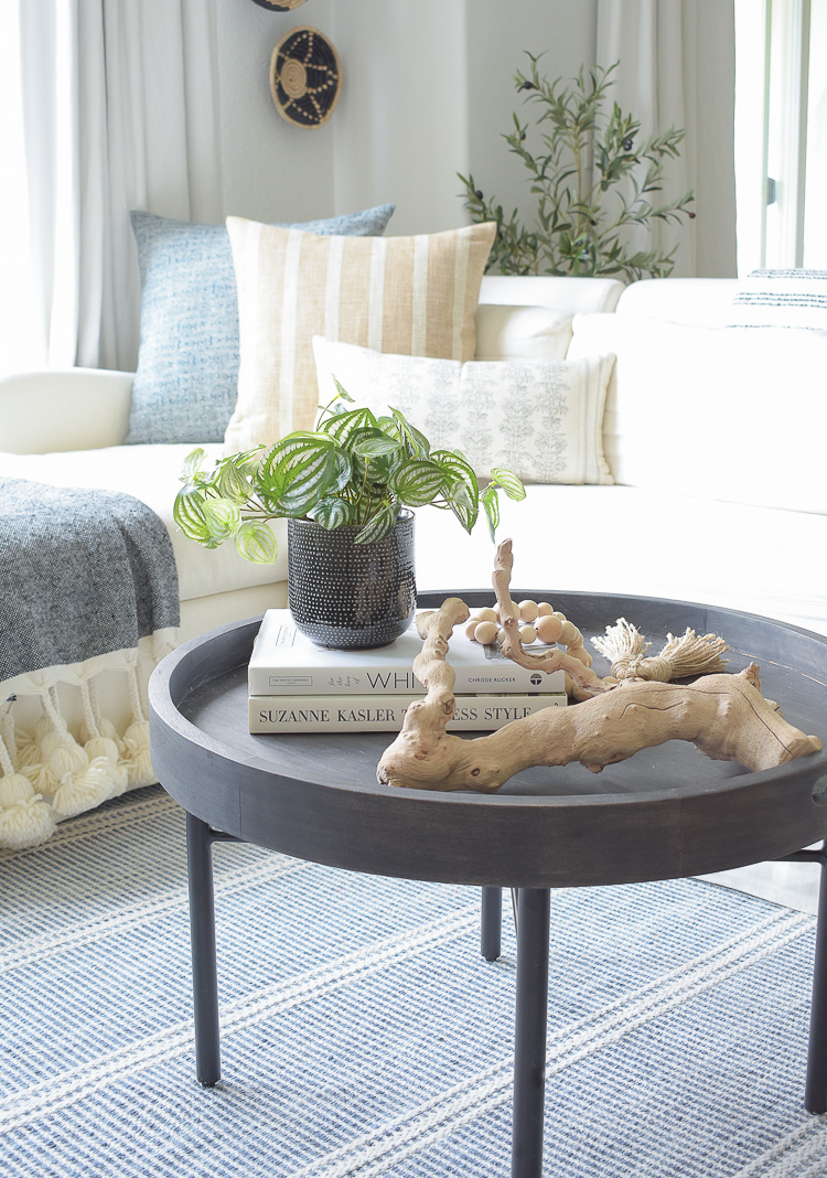 How to style coffee table with faux plants