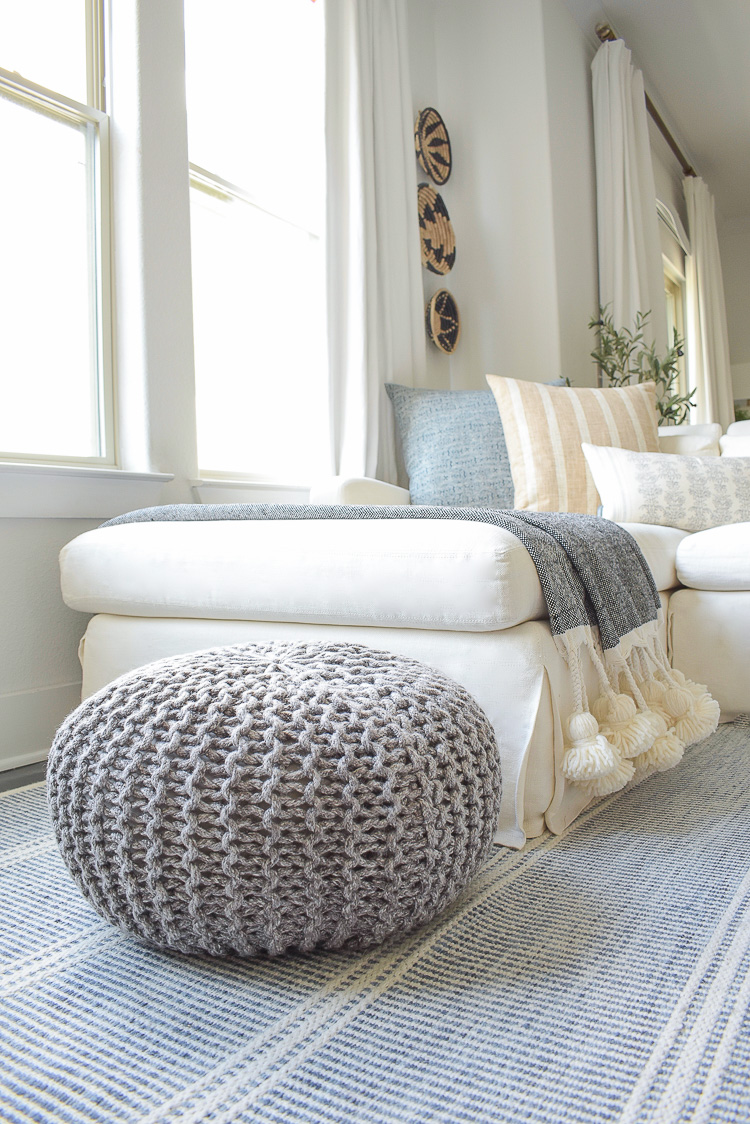 Gray indoor outdoor knit pouf