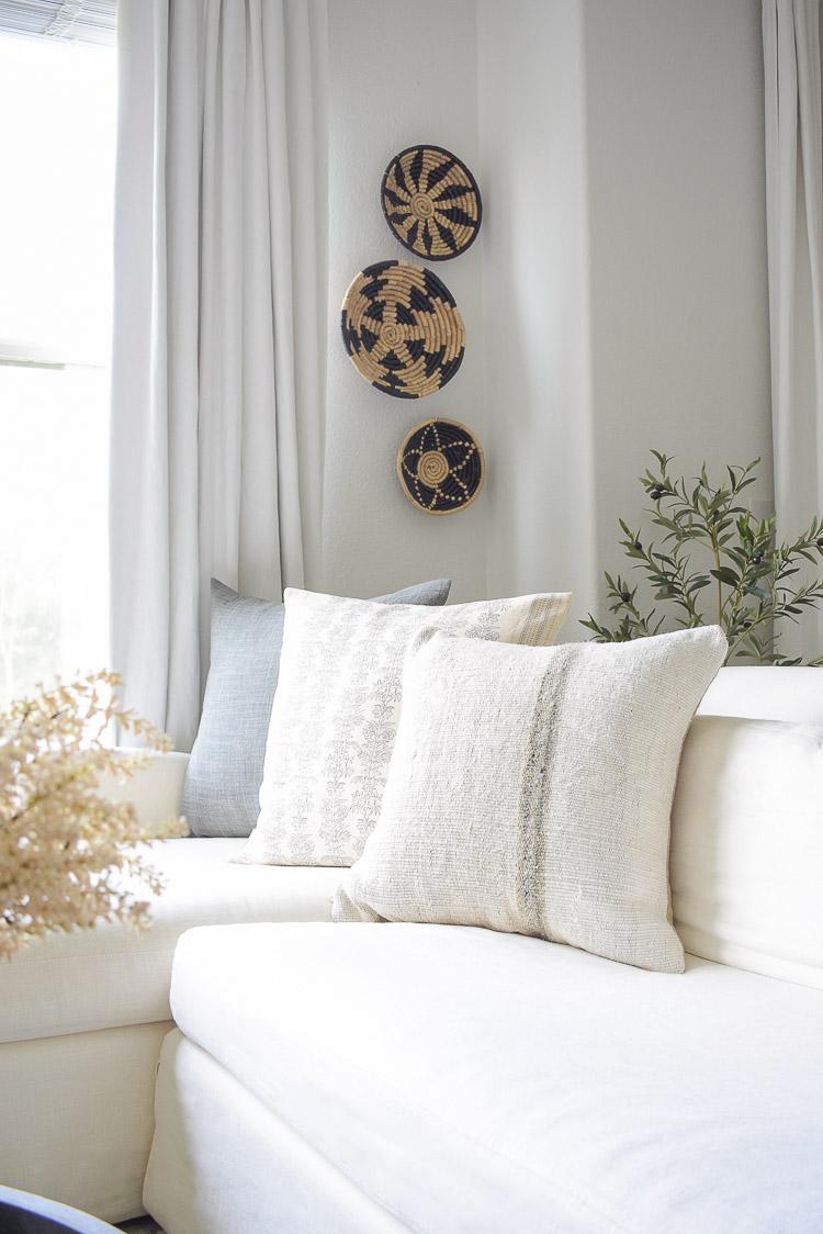 Fall textured floral linen pillows