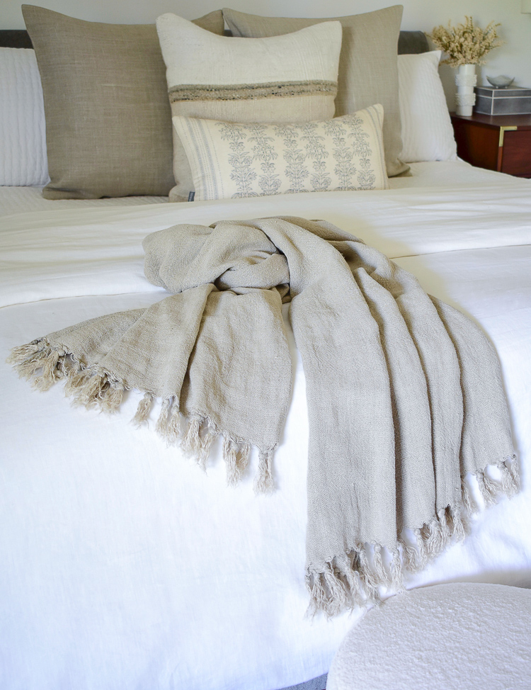 Pom Pom At Home Montauk Throw from Layla Grace - natural color 100% linen