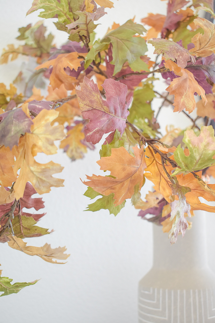 best fall faux branches in traditional colors - oak leaves