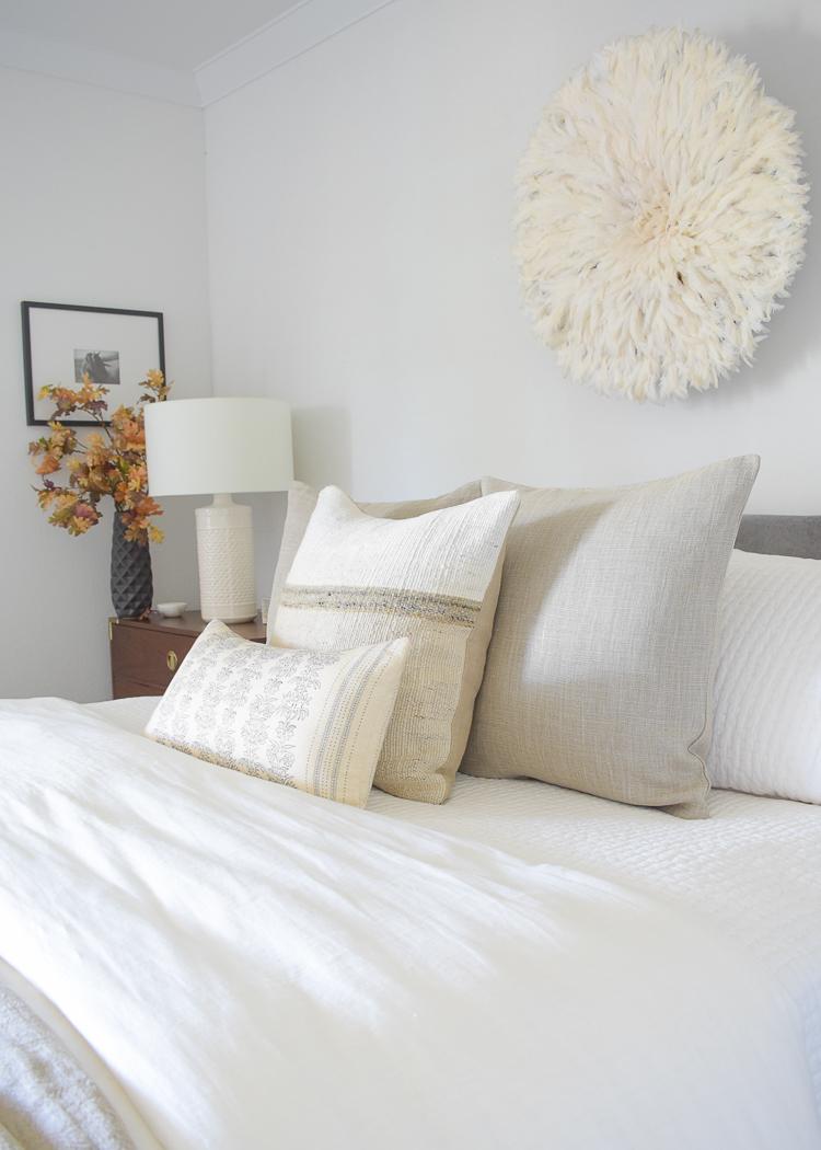 Fall pillows, oversized linen pillow, two-tone, pillow, floral lumbar