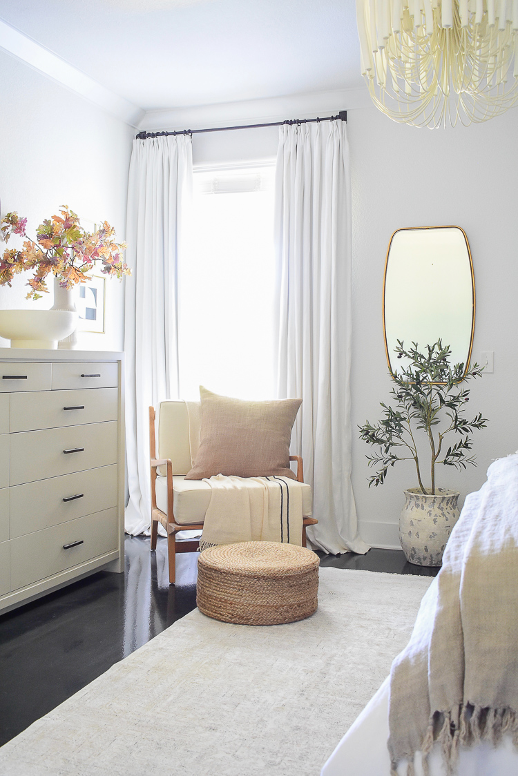 Bedroom sitting area, white linen drapes, modern boho chic style