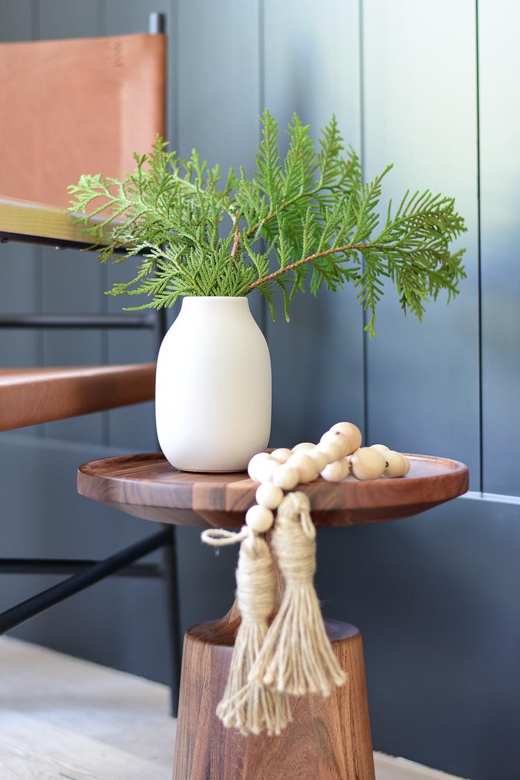 Modern christmas arrangement in vase