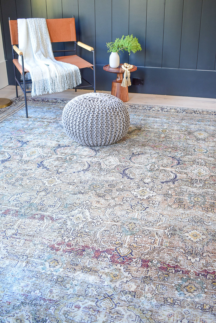 Loiloi olive charcoal oriental rug