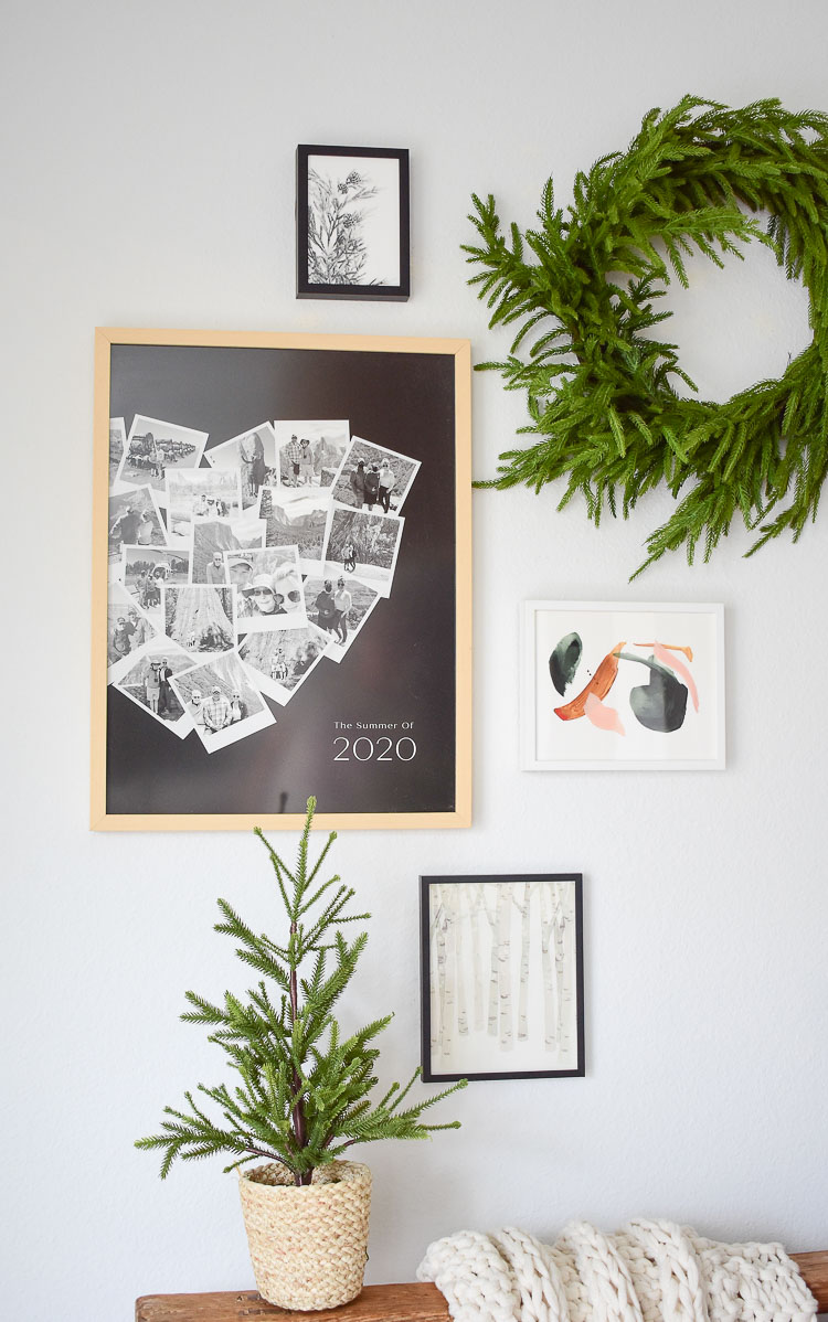 How to do a holiday gallery wall and organize photos from a special event into one heart shaped spot