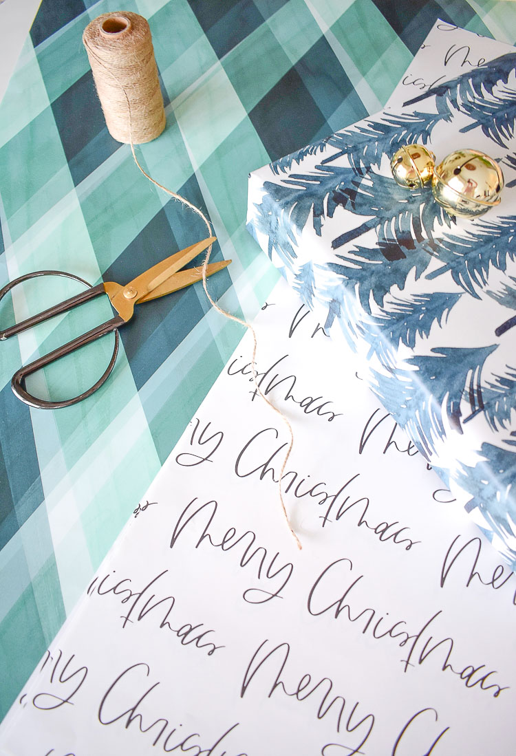 Modern gift wrap from minted - painterly plaid