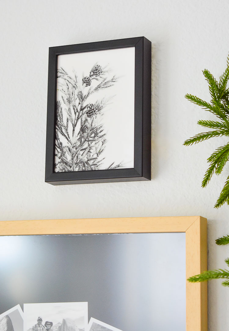 wild green art print from minted , black and white pine branch winter art