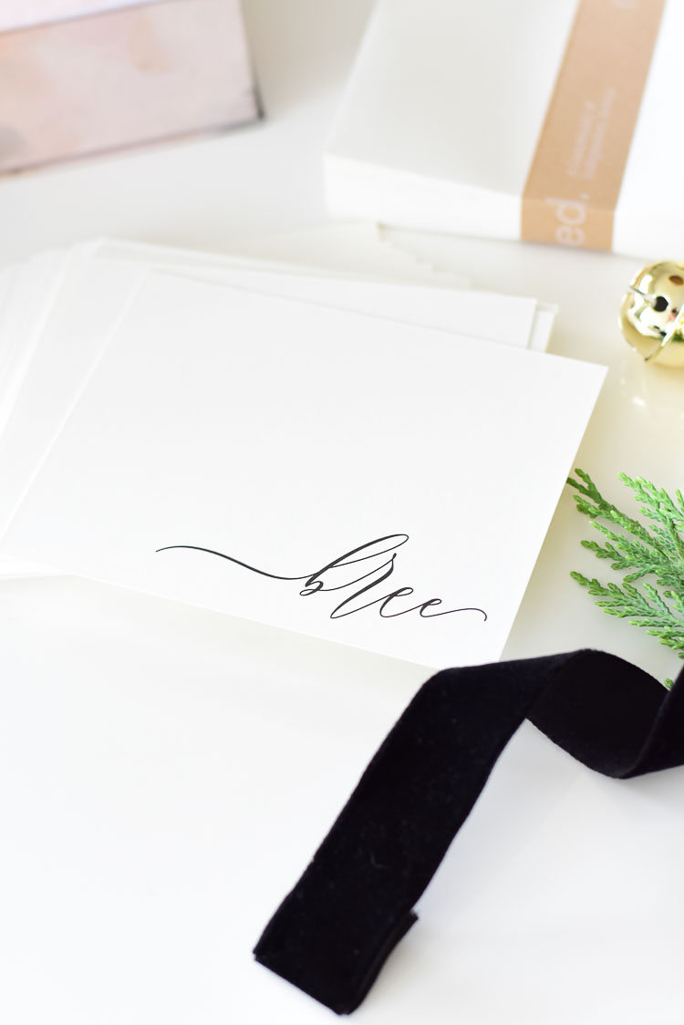 Personalized Customizable stationary from Minted in script font, black and white