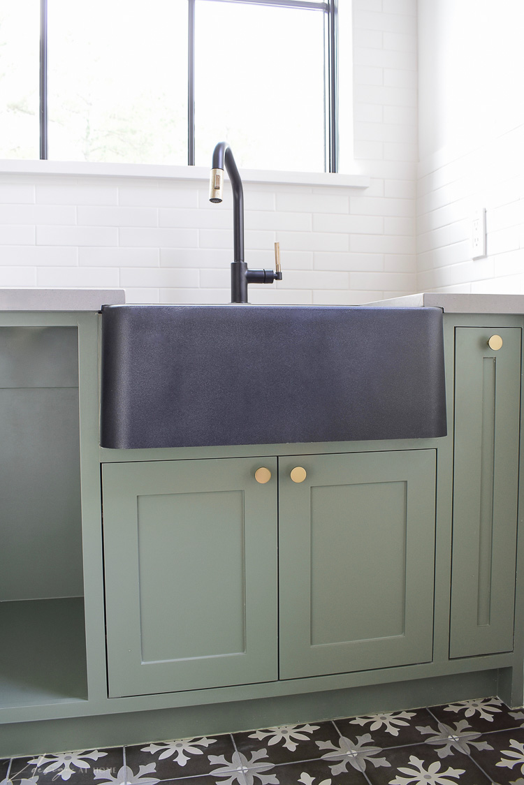 "Blanco Ikon 27"" farmhouse sink in black, green laundry room cabinets , dried thyme"