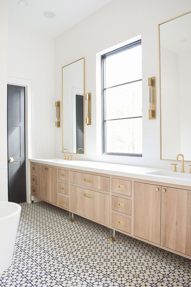 Master Bath Design With white oak cabinets and brass accents