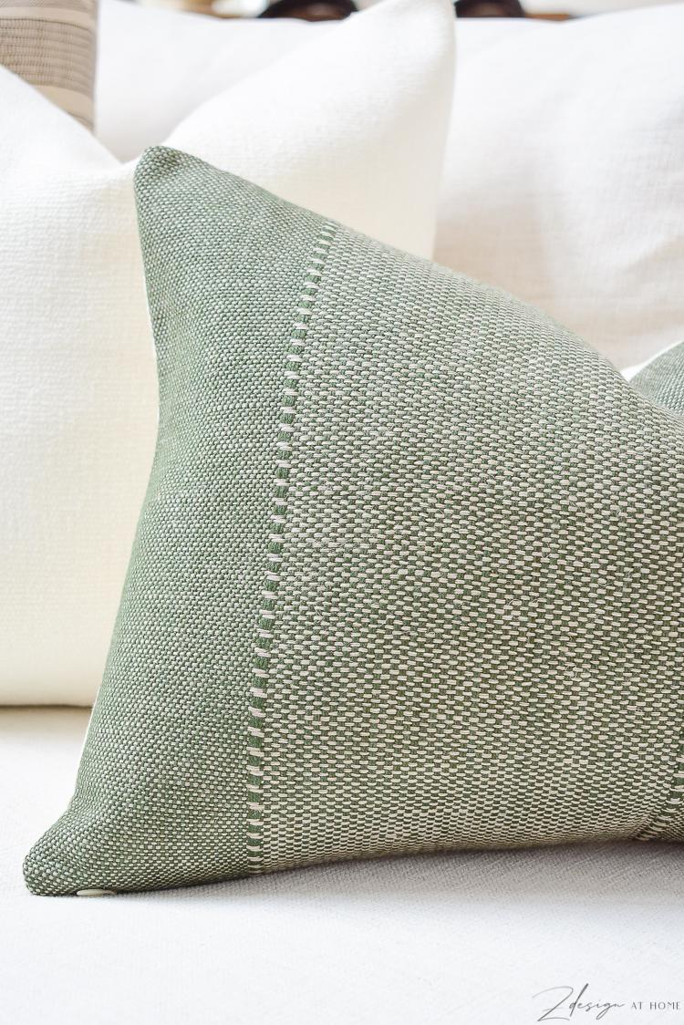 spring pillow refresh with green texture lumbar pillow