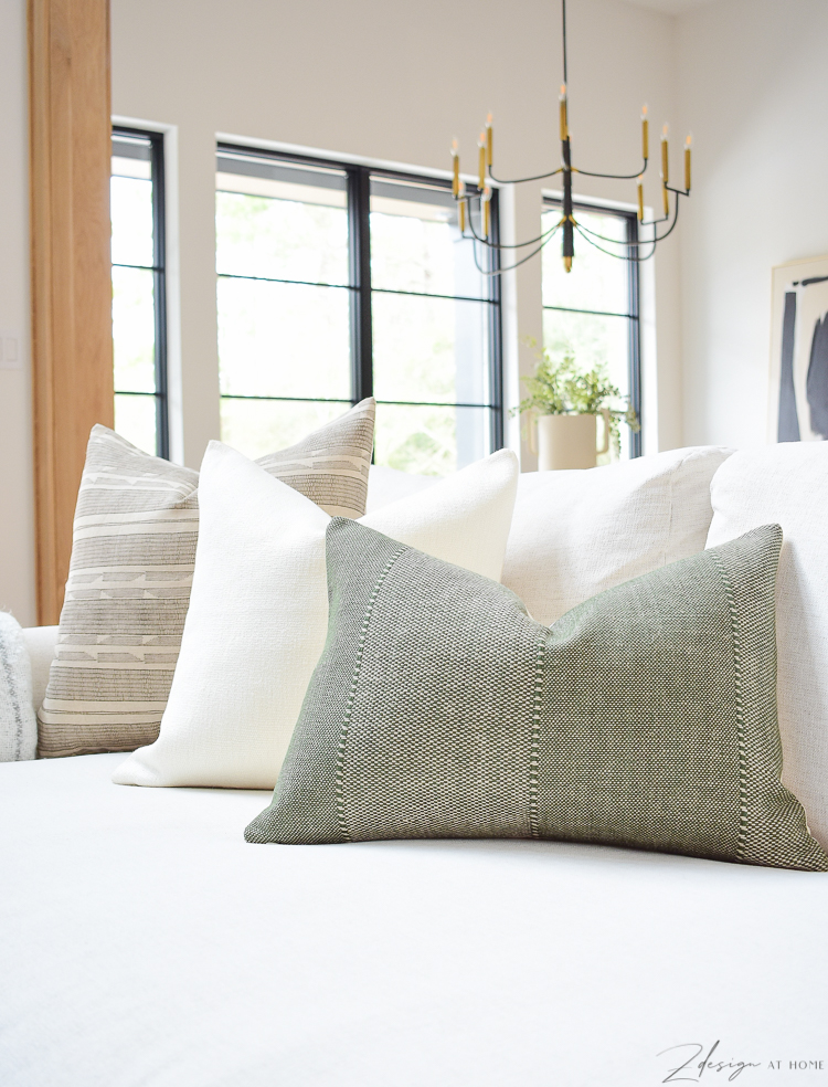 spring pillow combo refresh, brown, ivory linen and olive green texture pillow