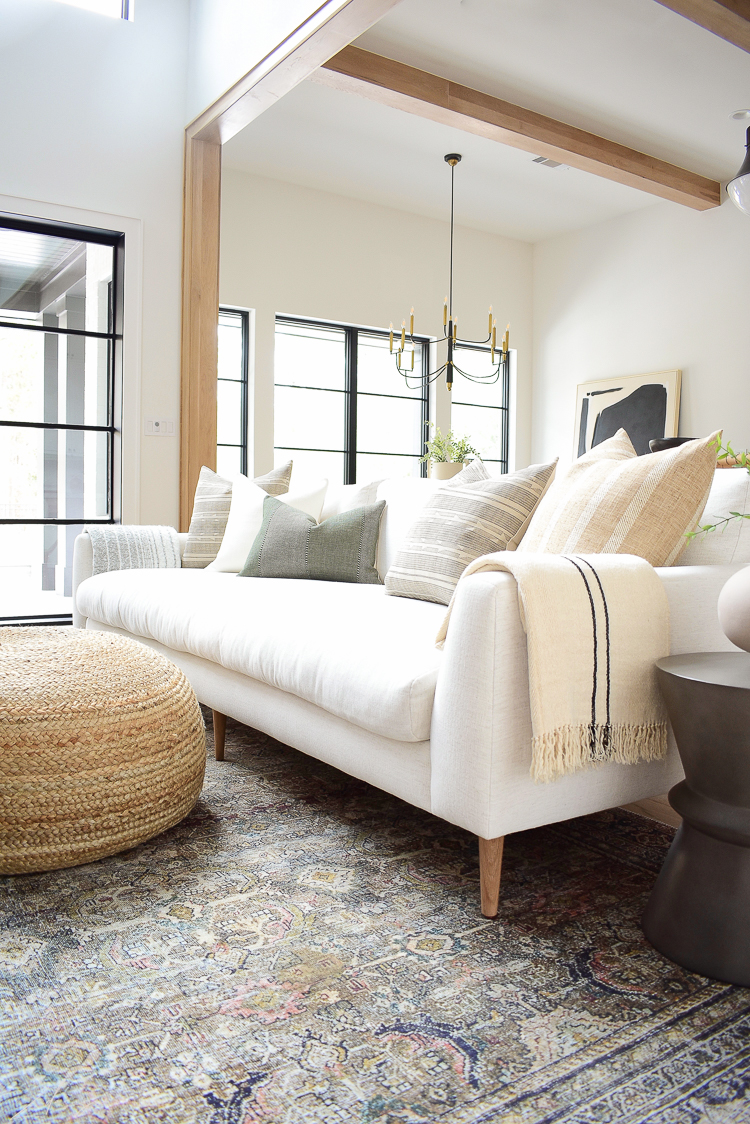 How to style pillows on your sofa with modern farmhouse flair