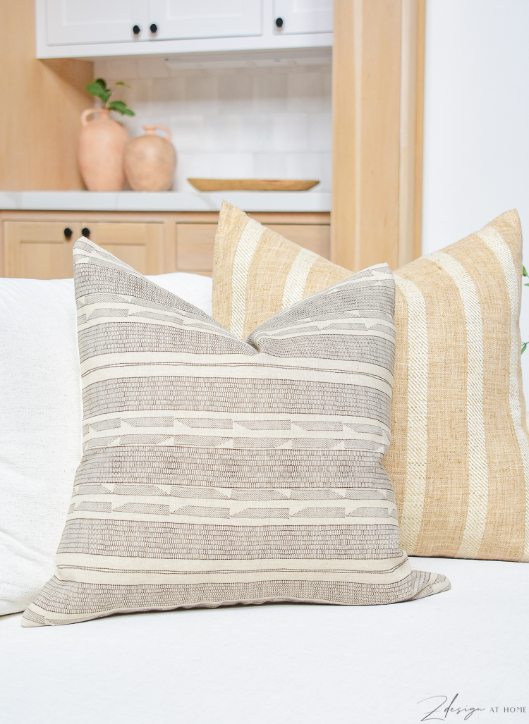brown seville patterned pillow - how to style pillows on a sofa