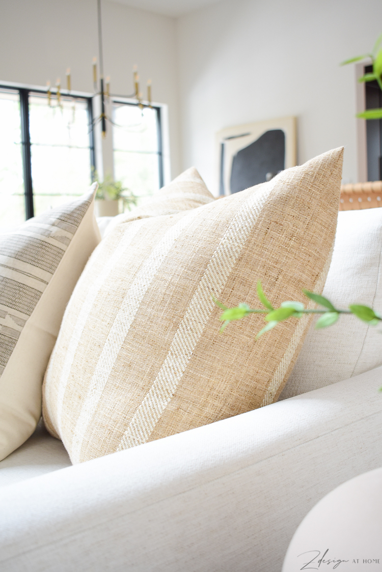How to style pillows on a sofa with modern farmhouse pillow combo