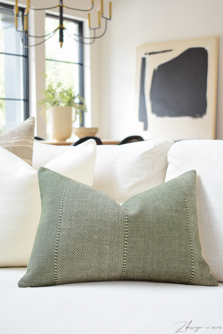 olive textured pillow in spring pillow refresh