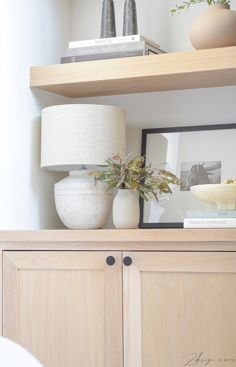 petite table lamp with joss & main spring edit - how to style your bookshelves and open shelves
