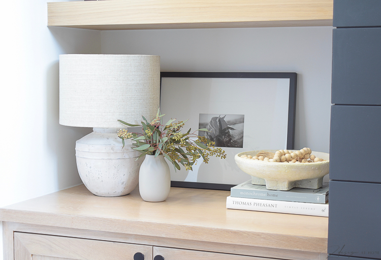 petite table lamp with joss & main spring edit - how to style your bookshelves