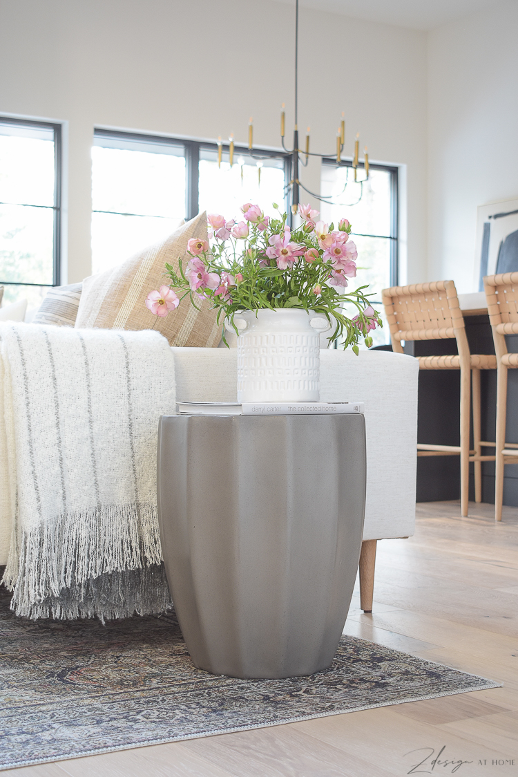 Spring update with joss & main - concrete side table, white vase pink blooms