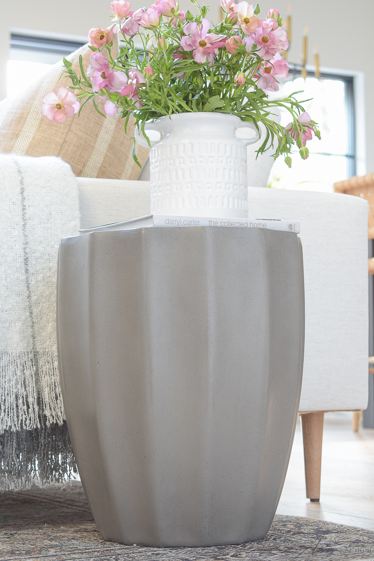 gray abstract concrete side table
