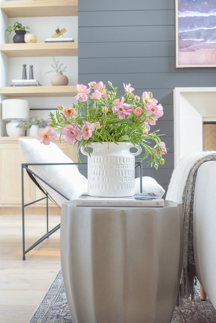 spring decor updates - white jug and geometric side table gray