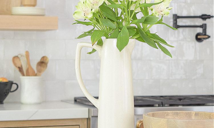 Joss & Main Sale of the Season - modern pitcher vase with fresh flowers / zellige tile