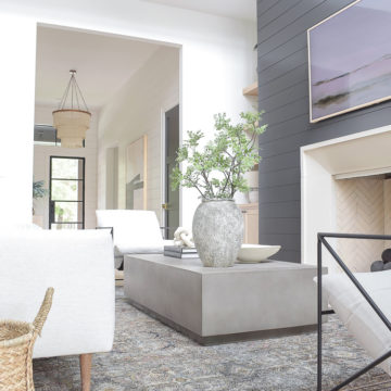 zdesign at home living room reveal, black shiplap, concrete coffee table, transitional modern living room