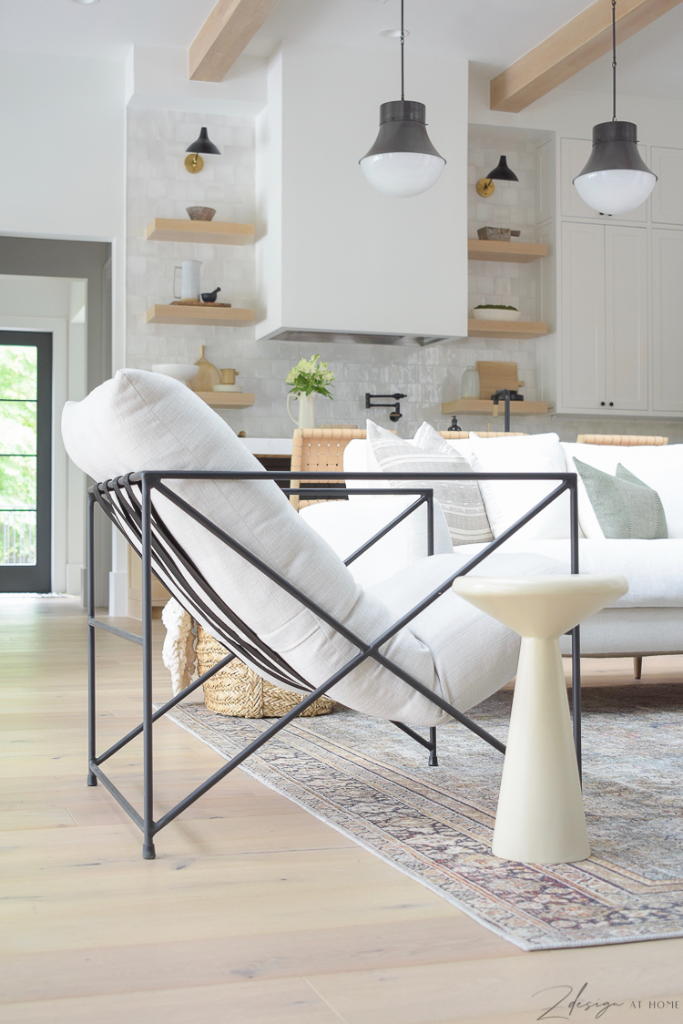 metal chair with cushion in modern living room