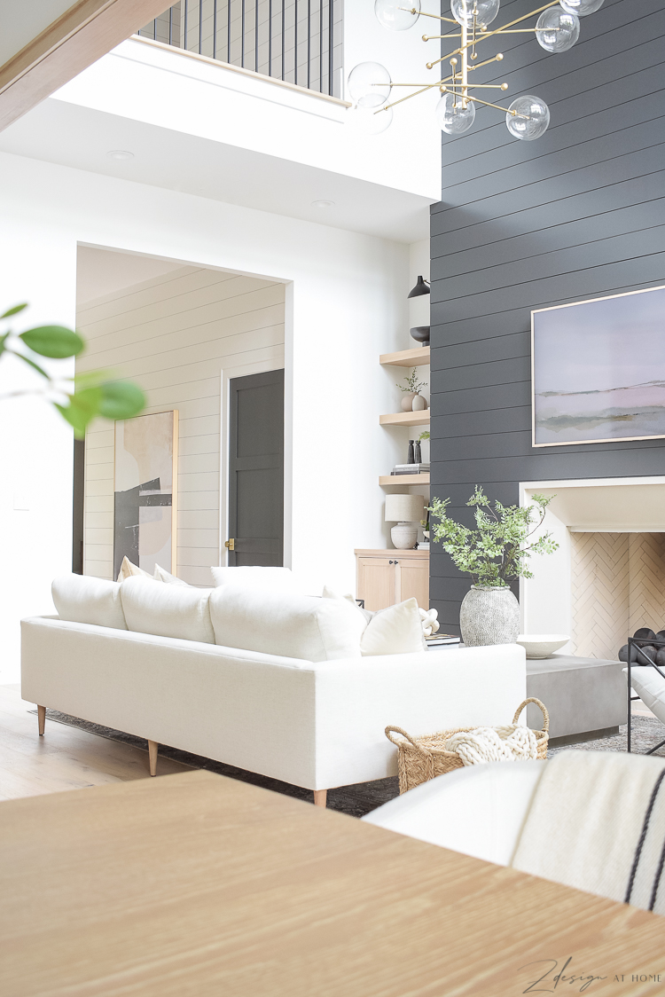 living room flow and how to style your space, black shiplap wall