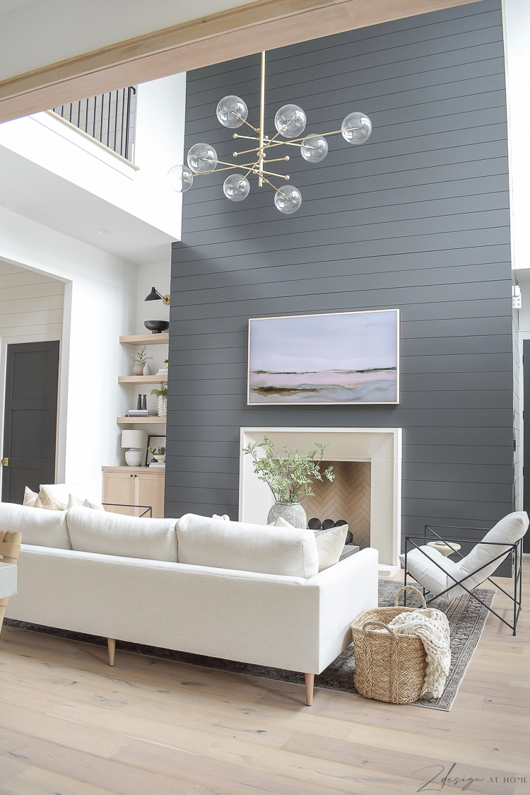 gorgeous living room with black shiplap fireplace - modern farmhouse