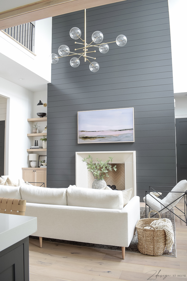 ZDesign at home living room, black shiplap fireplace wall,