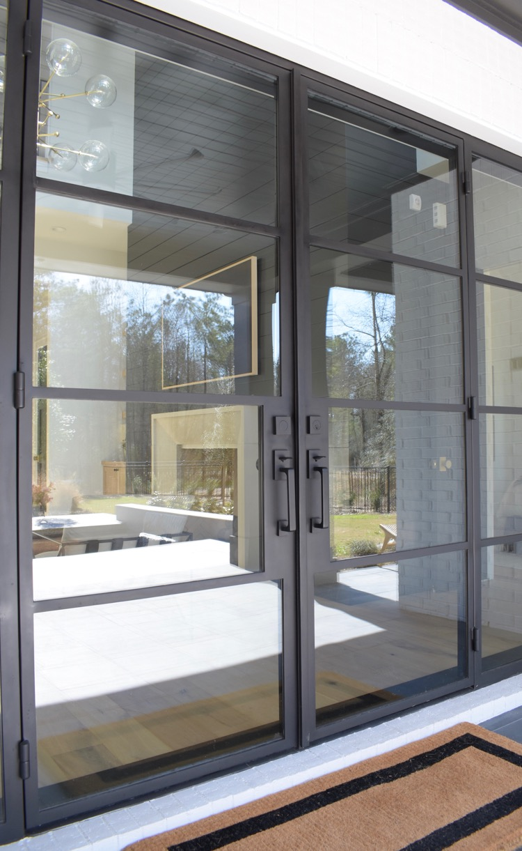 custom steel back door unit with emtek baden handleset