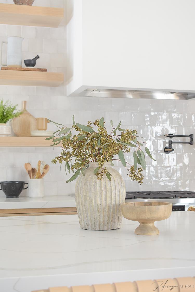 ribbed vase on quartz countertops