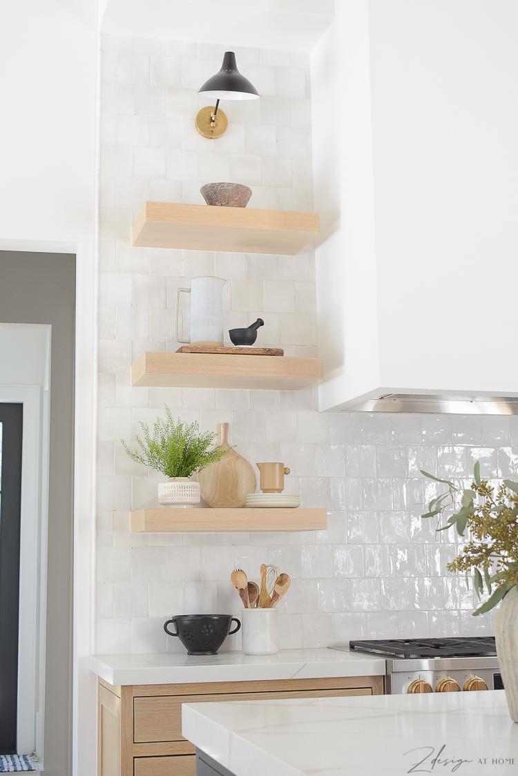 white oak style kitchen shelves