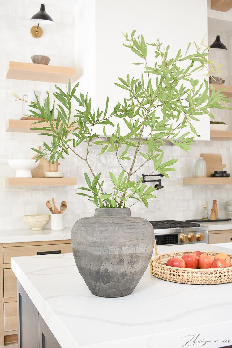 vintage inspired vase styled on kitchen countertop