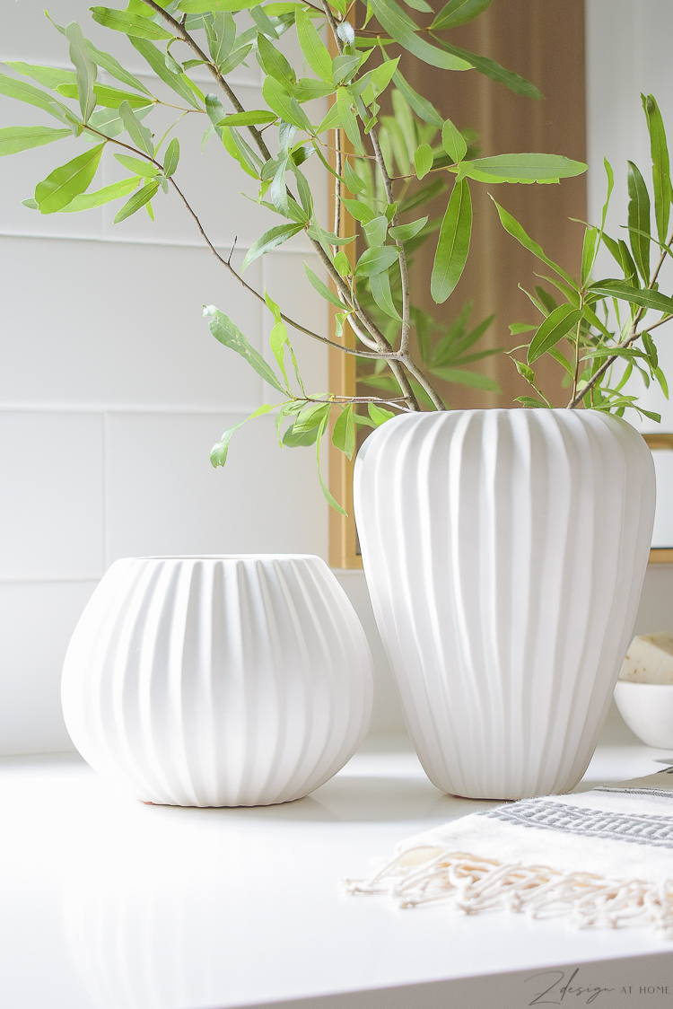 white ribbed vases - pair of