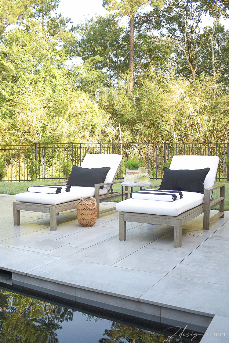 Summer Style on patio - loungers with black and white summer outdoor patio decor