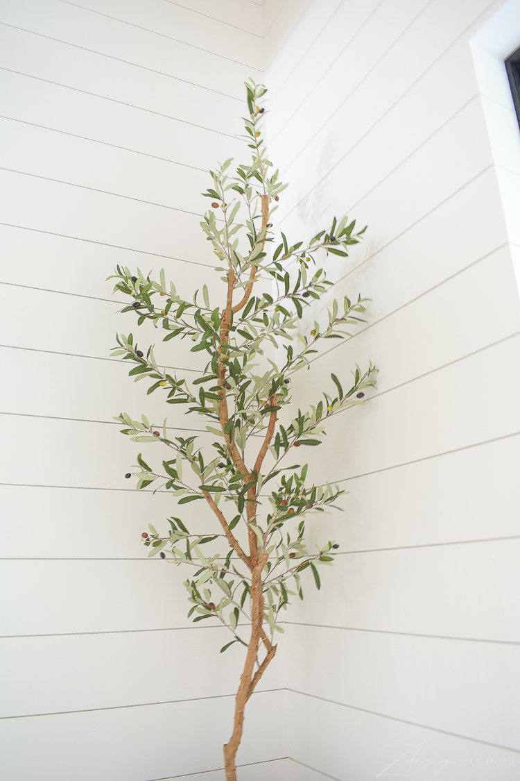 tall slender faux olive tree
