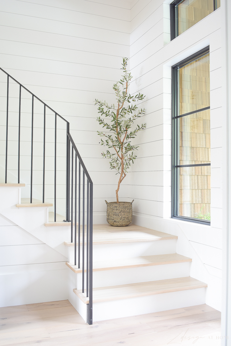 modern slender iron hand rail for stains, faux slender tall olive tree