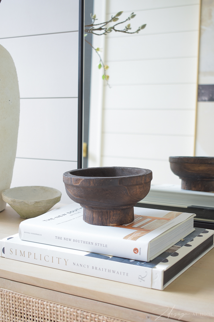 wooden footed bowl for styling
