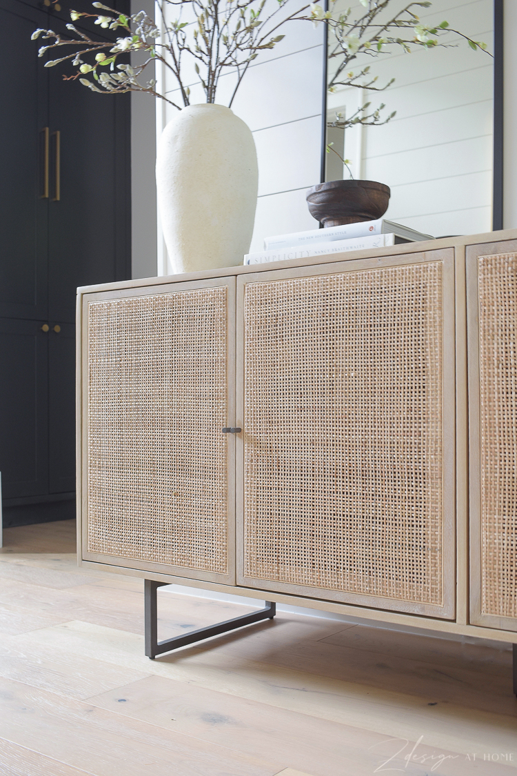 cane console table for entryway