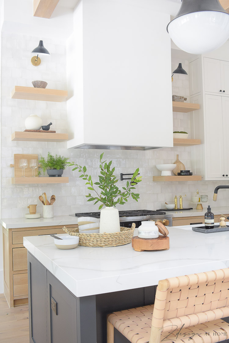modern kitchen white oak styled for summer with walmart home decor
