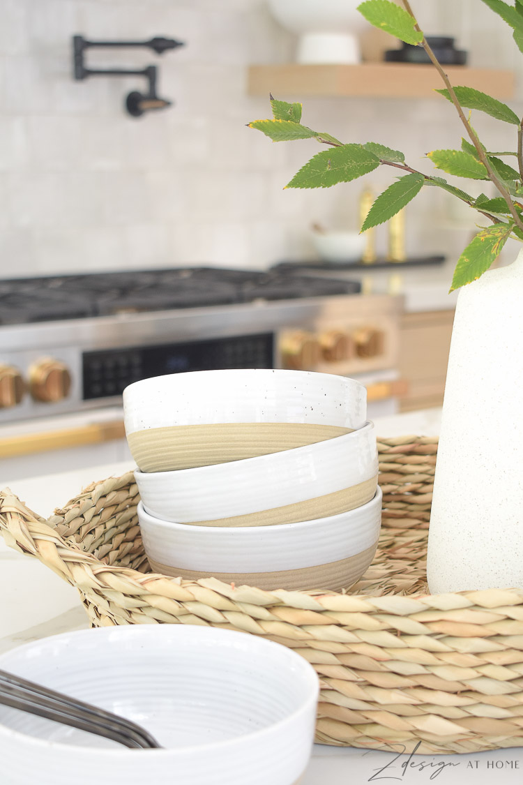 stoneware bowls - two tone - how to style your kitchen island
