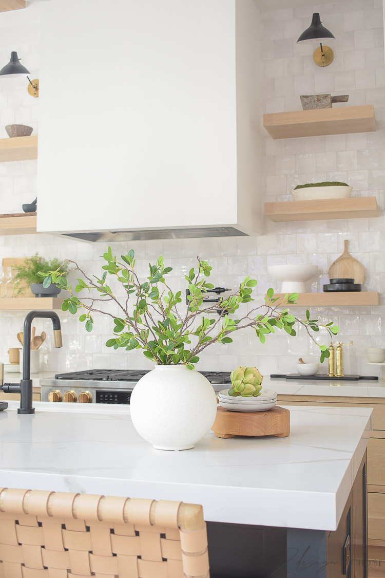 black and white oak kitchen styled - how to style your kitchen with walmart home decor
