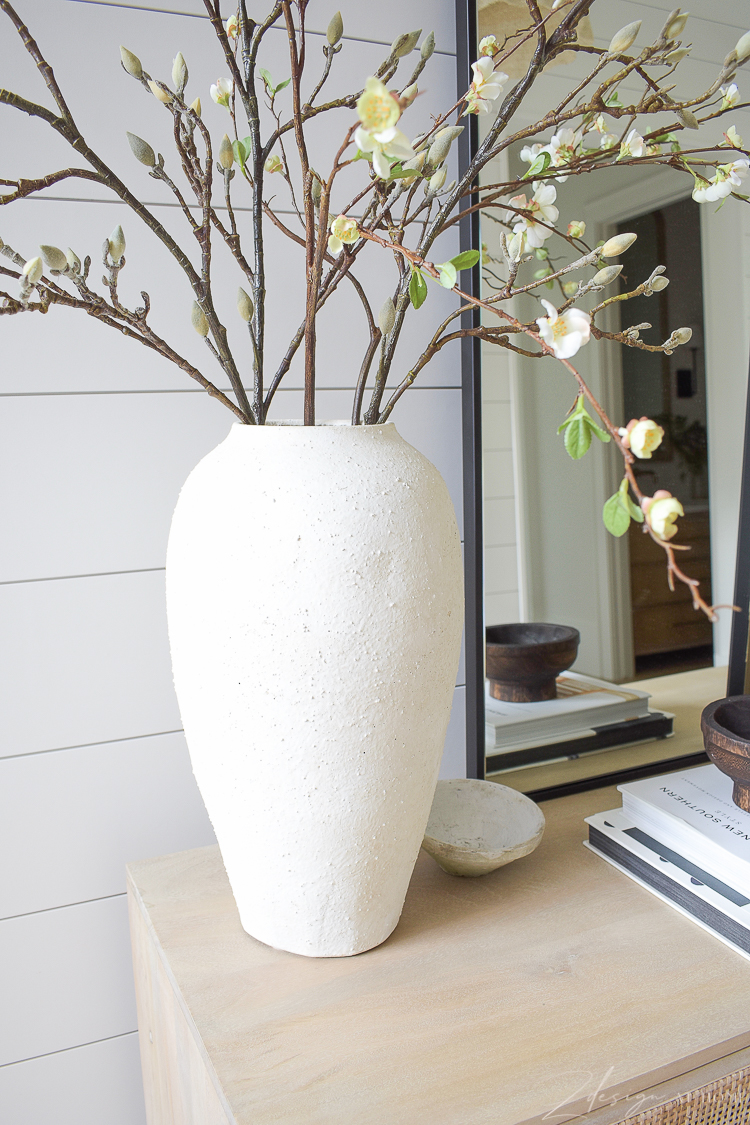 cream white textured vase