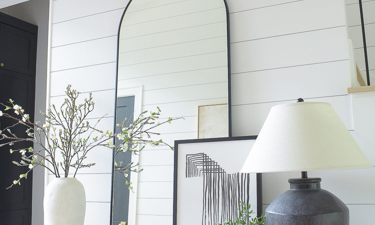 ZDesign At Home Entryway Tour Reveal of console, shiplap, hardwoods and stair case