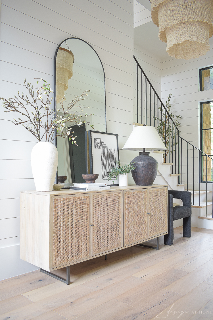 grand foyer with cane console