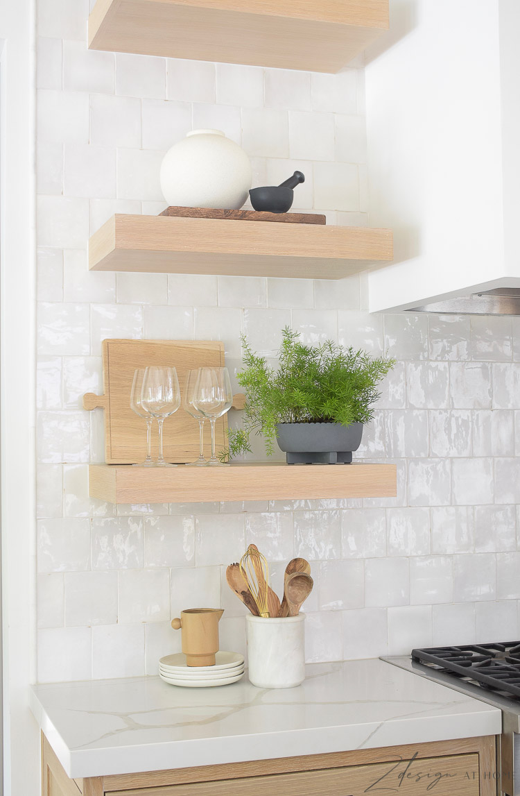 white oak open shelves in the kitchen with styled decor from walmart